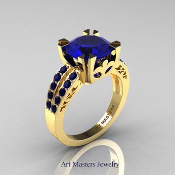 Modern Vintage 14K Yellow Gold 3.0 Carat Blue Sapphire Solitaire Ring R102-14KYGBS