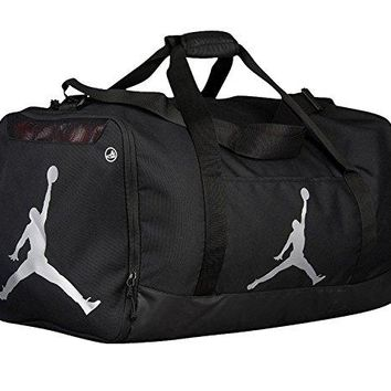 Nike Air Jordan Jumpman Duffel Sports Gym Bag Black/Silver 8A1913-023 Wet/Dry Shoe Pocket Water Resistant