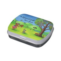 """Bear and Kitten"" Personalized Jelly Bean Tin Jelly Belly Candy Tins"
