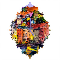Ginette Fine Art Dolce Vita In Vernazza Baroque Clock