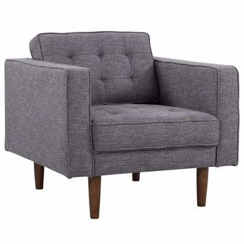 Element Mid-Century Modern Chair in Dark Gray Linen and Walnut Legs-Armen Living