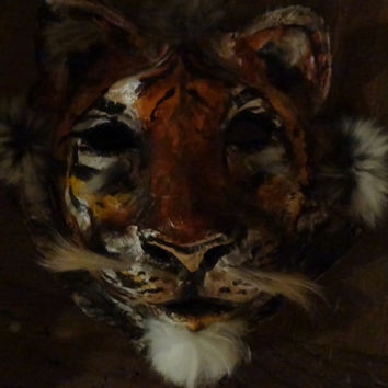 Before Sunrise  Paper mache tiger mask costume animal mask