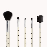 Spotted Heart Cosmetic Brush Set