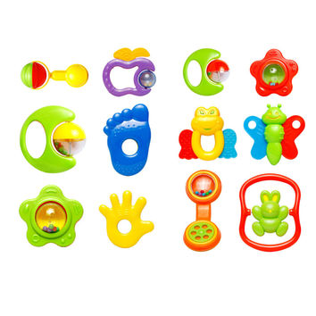 6pcs Plastic Baby Toys Hand Jingle Shaking Bell Rattle Toddler Music Toy for Kids