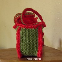 Poinsettia Flower Small Tote Bag - Handmade Red and Green Cotton - Nature and Winter Holiday Inspired - Eco Reusable