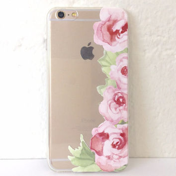 H72 Classy Pink Flowers Border - TPU Transparent Clear Phone Case for iPhone 5 iPhone 5s iPhone 5c iPhone 6 iPhone 6plus Galaxy S4 Galaxy S5