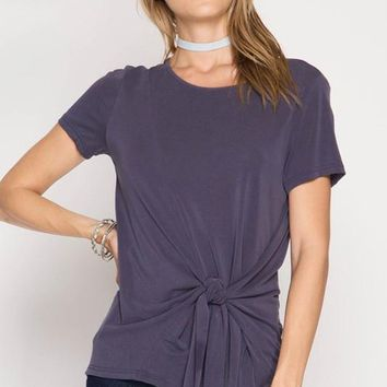Dusty Purple Front Side Tie Top