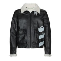 Shearling Black Leather Jacket by OFF-WHITE