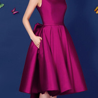 Purple Backless Bowknot Back Lacing Prom Skate Dress