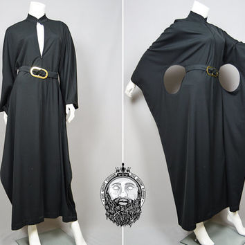 Vintage 60s Space Age Cut Out Black Maxi Dress Kaftan Dress Futuristic Clothing Mod Dress Pierre Cardin Minimalist Dress 1960s Nehru Collar