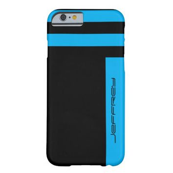 iPhone 6 Case Cyan Blue & Black Two Way Stripe
