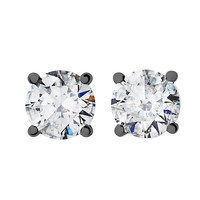 RenéSim Diamond Stud Earrings Brilliant-Cut in Blackened White Gold