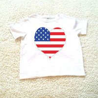 4th of July American flag heart graphic kids Tshirt. Sizes 2T, 3t, 4t, 5/6T funny graphic kids shirt