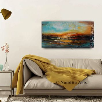 """Oil Painting Abstract Landscape Painting on Canvas Colorful Palette Knife Artwork Large Modern Wall Art by Nandita 48x24""""/122cmx61cm"""