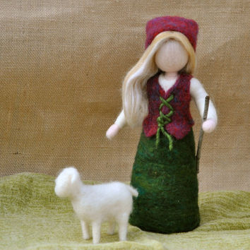 Girl with sheep Needle Felted Waldorf inspired Standing Doll : The shepherd girl,