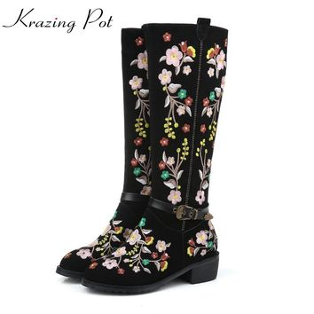 Krazing Pot 2018 cow suede oriental vintage embroidery round toe thick med heels women punk superstar luxury knee-high boots L68