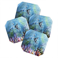 Ginette Fine Art Birds of the Ocean Coaster Set