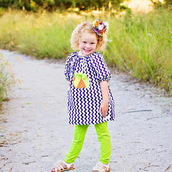 Halloween Pumpkin Hand Appliqued Purple Chevron Dress/Halloween/Girls Dresses/Appliqued clothing/Boutique clothing/Boutique Dresses