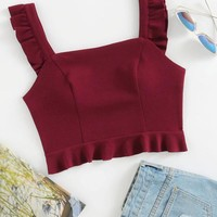 Ruffle Strap And Hem Bustier Top