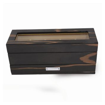 Lacquered Ebony Finish Wood 5 Watch Box W/glass Top & Drawer