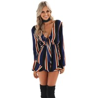 Macacao Feminino Shorts Summer Style Long Sleeve Deep V-neck Striped Playsuit Rompers Women's Short Jumpsuit