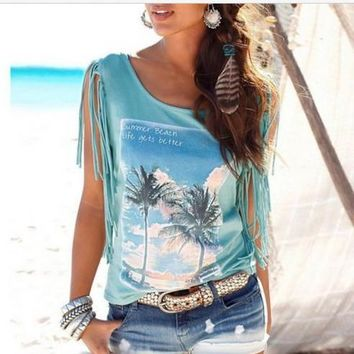 Fashion Tassel Coconut Tree Blouse Shirt Top Tee
