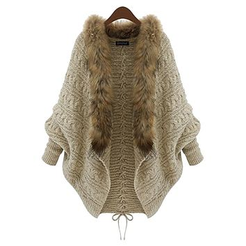 LUCK DOG Women Autumn Winter Fur Collar Batwing Jacket Cardigan Sweater Coat Outwear