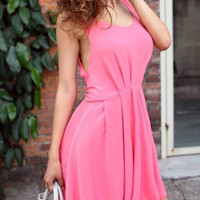 Pink Sleeveless Backless Skater Dress