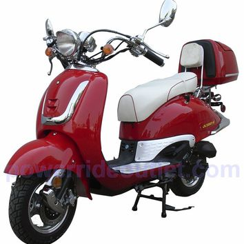 Roketa MCR-16C-50 4 Stroke 50cc Gas Scooter (95% Assembled Package) with Aluminum Rims and 2 Tone Color Available