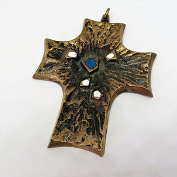 Vintage French, Bronze, Modernist, Pectoral Cross