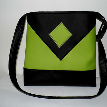 Black and green faux leather tote, cross body bag with geometric shape