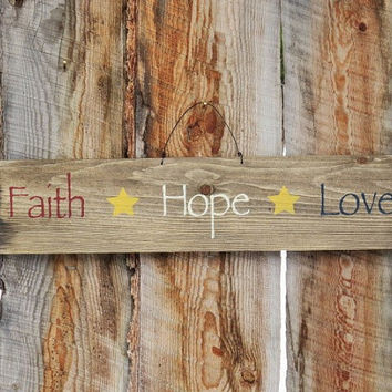 Faith Hope Love Wood Sign Montana Wood Sign Rustic Country Decor Primitive Sign Red White Blue Farmhouse Ameriana Decor Distressed Sign