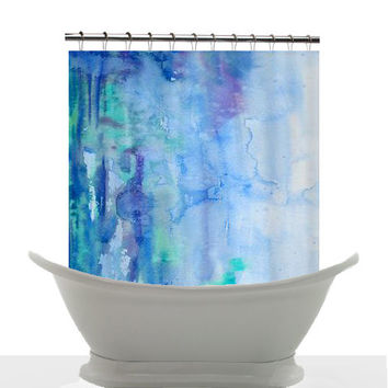 Artistic Shower Curtain -Blue Watercolor Bliss , unique,blue, teal, painted, colorful, decor, home