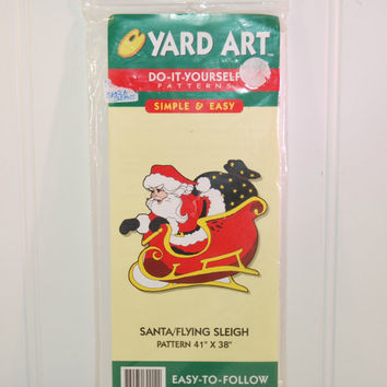 Yard Art Santa, Flying Sleigh (c.1998) Do It Yourself Woodworking Pattern, Christmas, Holiday Decoration, Outdoor Yard Art, Wood Art, Craft