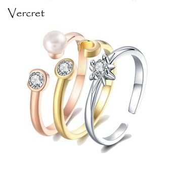 Vercret freshwater pearl ring set 925 sterling silver stack ring sun star moon rings set personalized jewelry gift for women