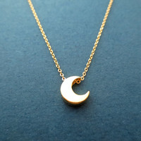 Gold, Crescent, Moon, Necklace