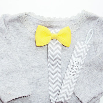 Baby Pacifier Clip in Grey Chevron with Yellow Bow or Bowtie for Girl or Boy