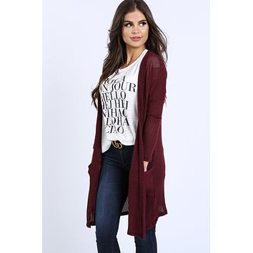Long Sleeve Waffle Duster Cardigan | S-3X