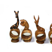 Napkin Rings Wood Napkin Rings Wood Napkin Holders Animal Napkin Rings Set of 8 Giraffe Safari Napkin Rings
