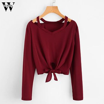 Womail Fashion Women Bow Tops Long Sleeve Hollow Out V-Neck Casual Shirt Blouse se14