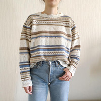 pastel brown and blue striped crochet knit cropped sweater pullover 80s // S-L