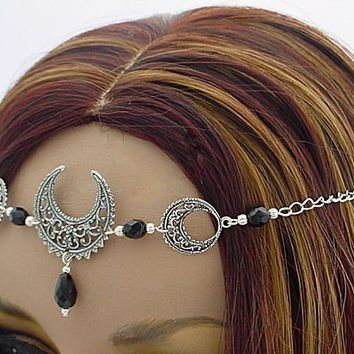 CUSTOM color TRIPLE Moon Artemis Lunar Goddess CIRCLET diadem Crown