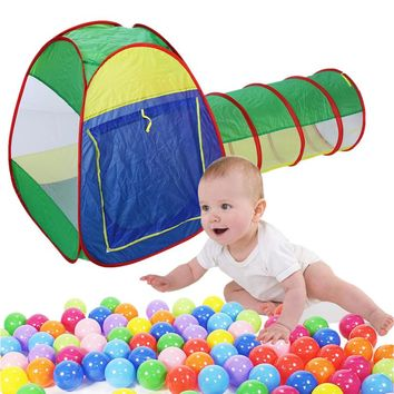 3pc Pop-up Kds Play Tent Outdoor Fun Sports Ocean Ball Toy Tents Children Tunnel Kids Adventure House Toy Cubby-Tube-Teepee Tent