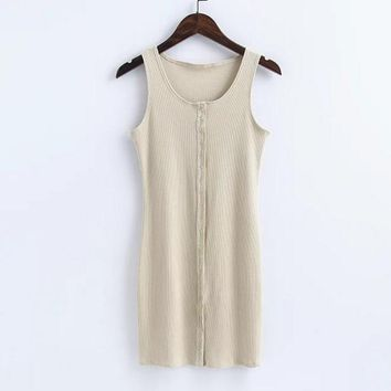 Sexy show body knit cotton front button vest type sexy dress Beige-apricot