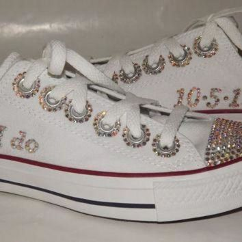 CREYON bridal custom bling rhinestone chuck taylor converse all star low top b1527d60b