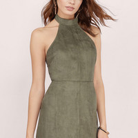 Alexia Faux Suede Halter Dress $54