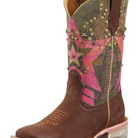 Ariat Women's Rodeobaby Liberty Boot - Sueded Chocolate/Pink
