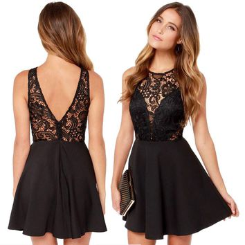Women Casual Backless Prom Lace Short Mini Dress