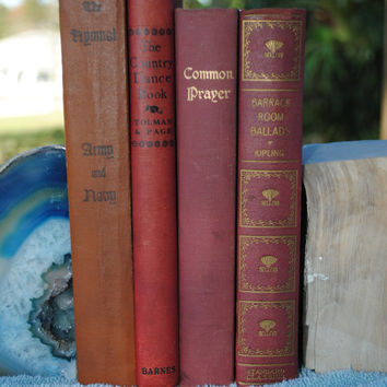 Red vintage books; antique red books; vintage song books; red photo prop books; vintage home decor books; office decor; rudyard kipling