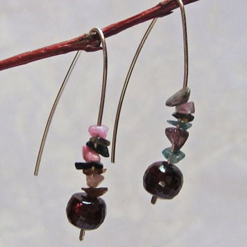 Stone Earrings, Garnet Earrings, 925 Sterling Silver, Simple Modern Earrings, Delicate Long Earrings, Tourmaline Multicolor Earrings